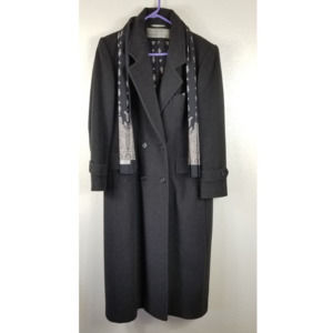Evan Picone Double Breasted 100% Wool Long Jacket